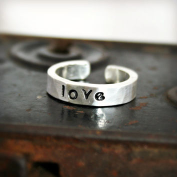 STAMPED STERLING SILVER Hammered Ring by hardweardesigns on Etsy