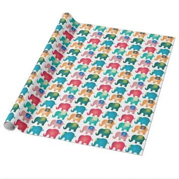 colorful elephants wrapping paper
