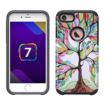 IPhone 7 Plus Case, Apple iPhone 7 Plus [Shock Absorption/Impact Resistant] Slim Hybrid Dual Layer Armor Defender Protective Case Cover for iPhone 7 Plus, Colorful Tree