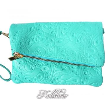 Italian Folded Turquoise Blue Genuine Leather Clutch with Pattern