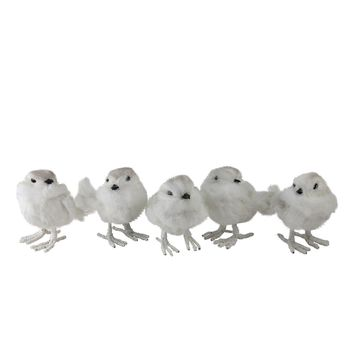 Set of 5 Nature's Luxury Feather and Wire White Bird Christmas Figure Decorations 3.75""