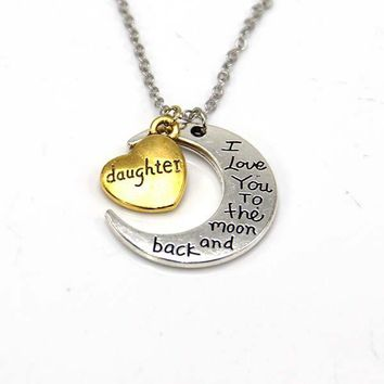 hand stamped i love you to the moon and back charm necklace silver gold daughter gift box  number 1