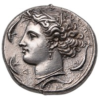 Ancient Greek Silver Decadrachm Coin by Euainetos of Syracuse, 400 BC