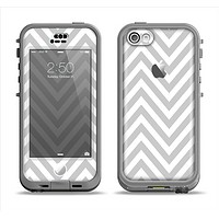 The Gray & White Sharp Chevron Pattern Apple iPhone 5c LifeProof Nuud Case Skin Set