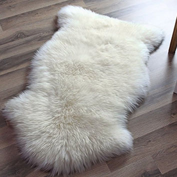 Super Area Rugs, Genuine Australian Sheepskin Rug One Pelt Ivory Natural Fur, Single