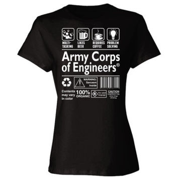 Army Corps Of Engineering Multi Tasking Likes Beer Requires Coffee Problem Solving - Ladies' Cotton T-Shirt