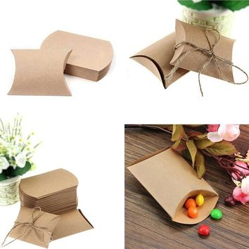 50pcs Cute Kraft Paper Pillow Favor Gift Candy Boxes Supply Wedding Party Favor Bag