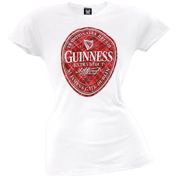 Guinness - Plaid Logo Juniors T-Shirt