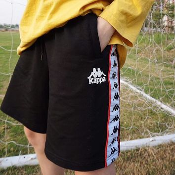 """Kappa"" Unisex Classic Casual Multicolor Stitching Logo Webbing Shorts Couple Sweatpants Leisure Pants"