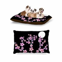 "KESS InHouse Julia Grifol ""Cherry Blossom At Night"" Pink Black Dog Bed, 30"" x 40"""