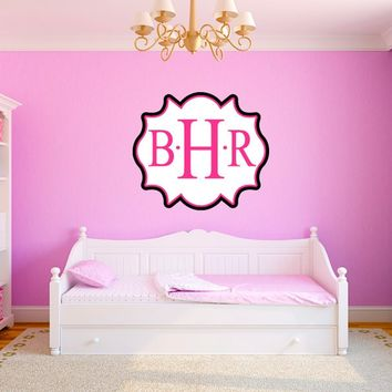 Personalized 3 Letter Initial Monogram Decorative Fancy Frame Name Wall Decal Sticker