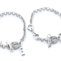 Best Friends Bracelets, Set Of 2 Initial Bracelets, Friendship Bracelets, Handcuff Bracelets, Partners In Crime, Teenager Jewellery, BFF