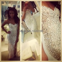 2016 Sexy Bling Luxury Sparkle Prom Dress Mermaid White Ivory Sweetheart Beads Crystals Rhinestone Side Slit Long Formal Evening