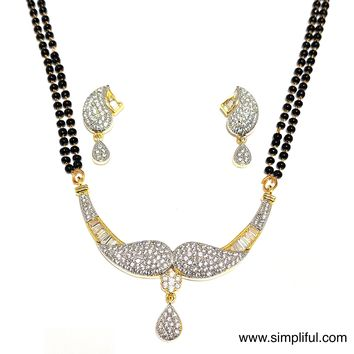 Dual Mango CZ stone Pendant Mangalsutra with Earring - Double Chain - Long