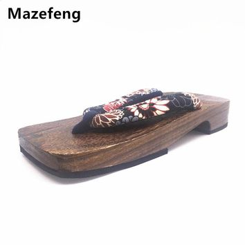 Mazefeng Clogs&geta Chinese Summer Slippers Shoes High quality Male Slippers Flip Flops Men Woods Clogs&geta Print Male Clogs