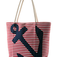 """Women's """"Sailor Striped Anchor"""" Tote Bag by Double Trouble Apparel (Navy)"""