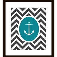 Supermarket: Nautical Chevron Anchor Print from Prints of Beauty