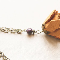 Mustard Yellow Leather Flower Necklace with Purple Bead and Antique Brass Chain, Leather Necklace, Mustard Yellow Jewelry.
