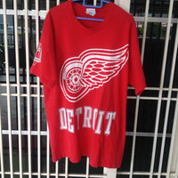 Vintage 90s DETROIT RED WINGS t shirt Large size