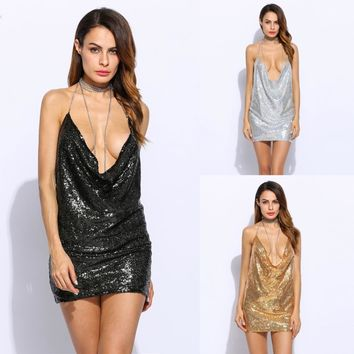 Women Sexy Spaghetti Strap Sequined dress sparkly halter backless metal club party dresses 3 Colors