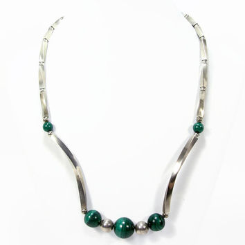 Sterling Malachite Necklace, 17 Inch, Malachite Bead, Sterling Silver, Vintage Jewelry, Vintage Necklace, Green Necklace, 925 Silver