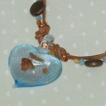 Leather Heart Necklace, Copper Blue Art Glass Cowgirl toggle clasp