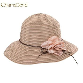 CUPUP9G Chamsgend Newly Design Women Fashion Foldable Striped Summer Wide Brim Sun Hat Beach Boho Cap with Flower 170531