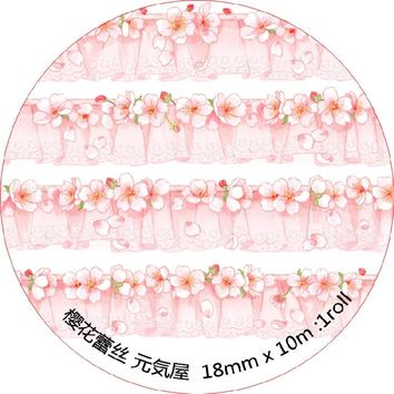 10 pcs/lot DIY Japanese Paper Decorative Adhesive Tape Cartoon Cherry blossoms Lace Washi Tape/Masking Tape Stickers mt3104