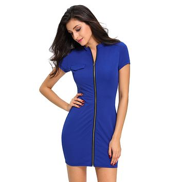 Royal Blue Funky Zip or Not Dress