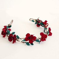 Red Floral Crown, Holiday Flower Crown, Woodland, Holiday fashion, winter wedding, womens accessories, Christmas Headpiece