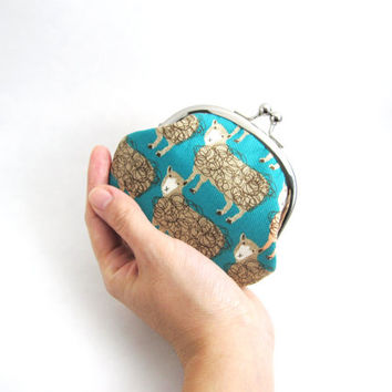 Frame Coin Purse- sheep on teal