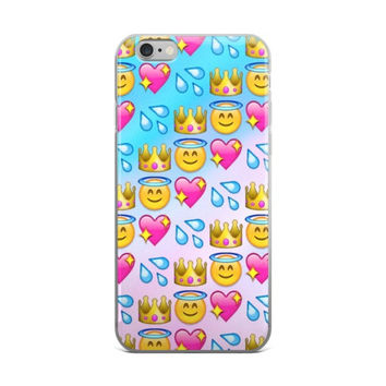 Water Squirt Princess Crown Glowing Stars Pink Heart & Angel Smiley Face Emoji Collage Teen Cute Girly Girls Tie Dye Bleach Sky Blue & White Phone 4 4s 5 5s 5C 6 6s 6 Plus 6s Plus 7 & 7 Plus Case