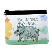 Real Unicorns Have Curves Coin Purse Zipper Neoprene Pouch - 4x5 inches