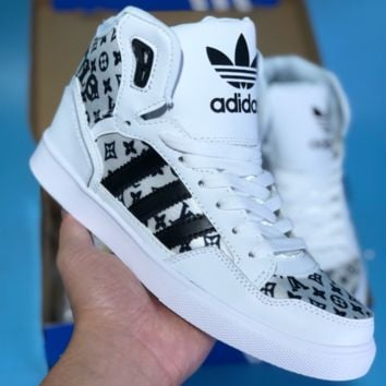 DCCK A282 Adidas Extaball M LV Supreme 2018 High Fashion Casual Skate Shoes White Black