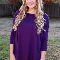 La'Rue Essential Piko 3/4-Sleeve Top - Purple | Piko Tops | Kiki LaRue Boutique