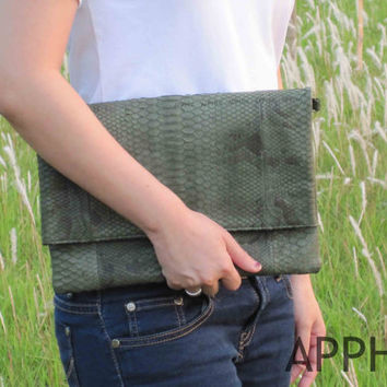 Rushka Green Army Genuine Exotic Python Convertible Clutch with Long  Shoulder Metal Strap