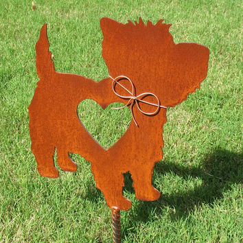 West Highland Terrier Dog Metal Garden Stake - Metal Yard Art - Metal Garden Art - Pet Memorial