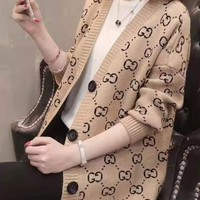 Woman Leisure Fashion Letter Printing Knitting Long Sleeve Tops Coat