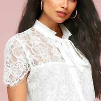 Sophia White Lace Tie-Neck Top