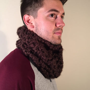 Men's Chunky Cowl Scarf, Thick Crochet Bulky Winter Scarf, Fall Neck Warmer, Snood