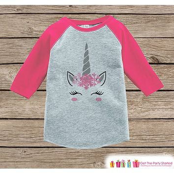 Girls Unicorn Shirt - Pink Snowflake Crown - Funny Snow Winter Unicorn - Girls Onepiece or Tshirt - Baby, Toddler, Youth Pink Raglan
