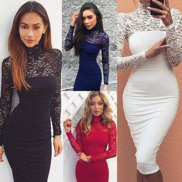 CREYL Gagaopt 2016 Sexy Lace Hollow Out Woman Dress Fashion Party Wear Slim Ladies Dress Elegant High Neck Lace Woman Pencil Dress