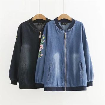 Trendy Plus size 4XL Autumn Zipper Mandarin Collar women jeans jacket 2017 casual long sleeve Embroidered ladies Denim Coat pocket AT_94_13
