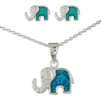925 Sterling Silver Opal Elephant Pendant Necklace with Cz Stones and Matching Stud Earrings Jewelry Set (Turquoise)