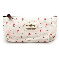 niceeshop(TM) Elegant Canvas Pastorable Floral Pen Pencil Bag/Case/Pouch/Holder with Zipper Closure-Red & Off-white