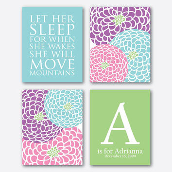 Customizable - Let her sleep for when she wakes she will move mountains - nursery art quad - Flowers - 8x10 print - monogram