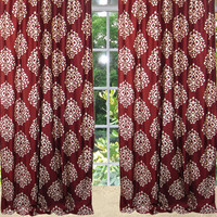 "2 Indian Curtains Red Floral Printed Drapes Panels Window Treatments (Length:96"")"