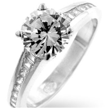 Neila Classic Solitaire Engagement Ring | 2.5 Carat | Cubic Zirconia | Silver