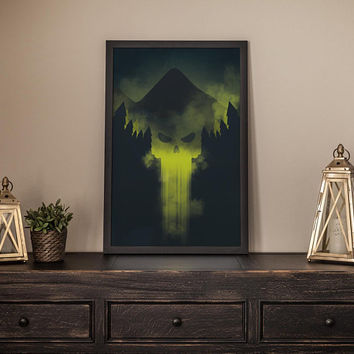 Skull Wall Art Poster Print - Green Halloween Poster Artwork Room Decor - Dark Black Gothic Forest Printable Painting Digital Poster