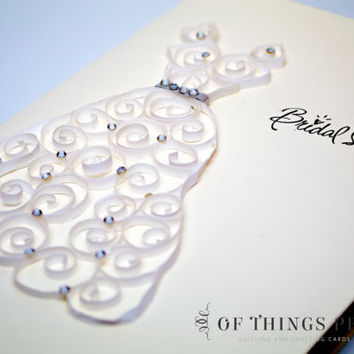 Wedding / Bridal Shower Thank You Card Set - Set of 10 Cards - Quilled Wedding Dress - Paper Quilling